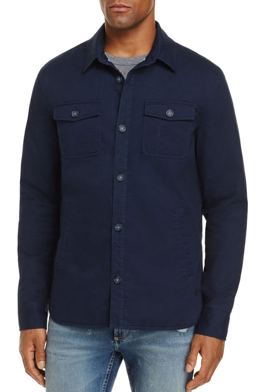 Men's Solid Shirt Jacket, Navy