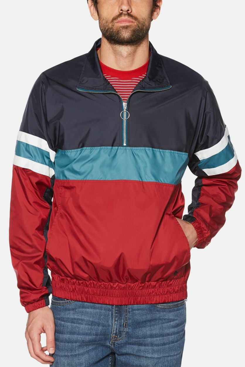 Men's Cagoule Jacket, Black/Red/Green