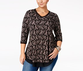 American Rag Women's Trendy Plus Size Floral-Print Top, Black