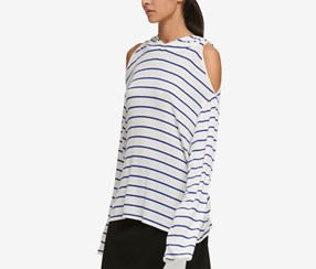 DKNY Women's Striped Cold Shoulder Hoodie, White/Blue