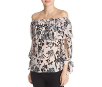 Women's Mandy Silk Off-the-Shoulder Top, Pear Paradise
