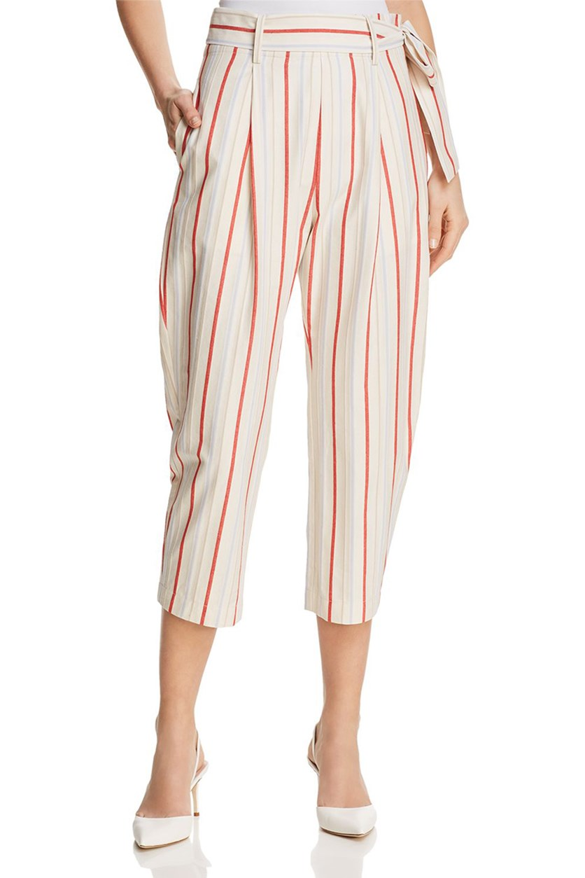 Women's Ramsey Striped Crop Pants, Cream