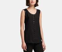 DKNY Womens Embellished Top, Black