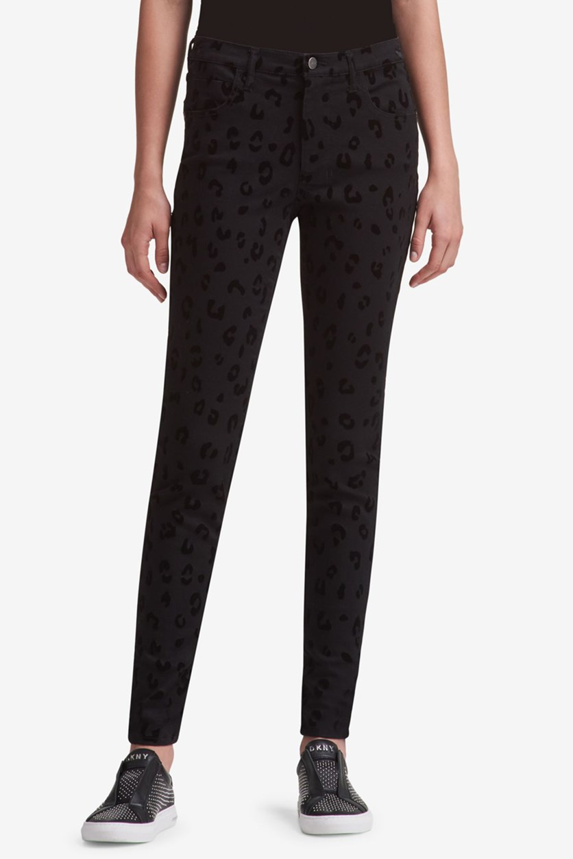 Women's Denim Animal Print Skinny Jeans, Black