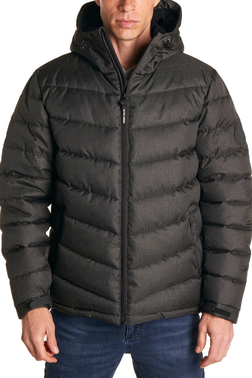 Men's Heather Puffer Jacket, Charcoal