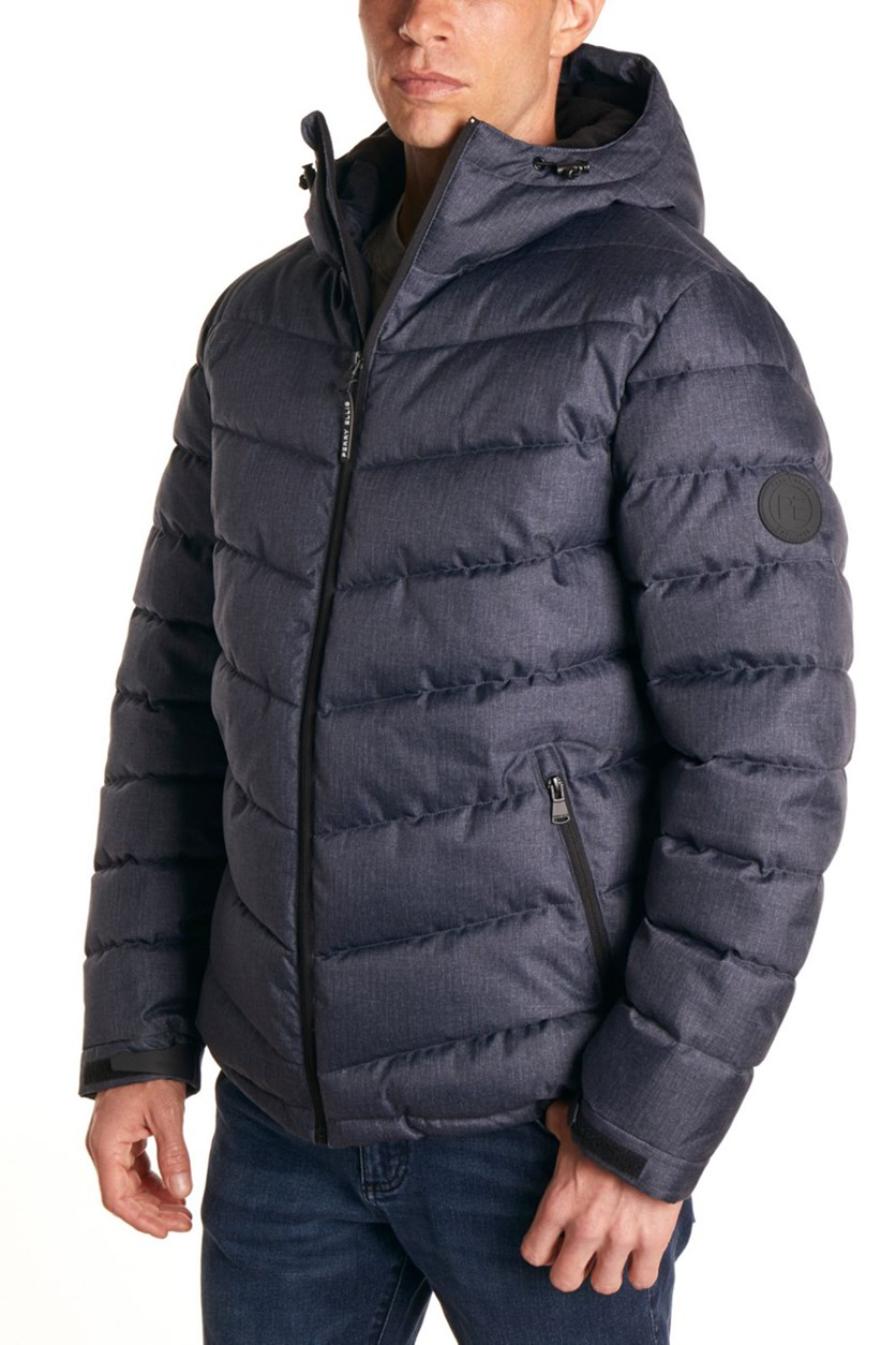 Men's Heather Puffer Jacket, Navy