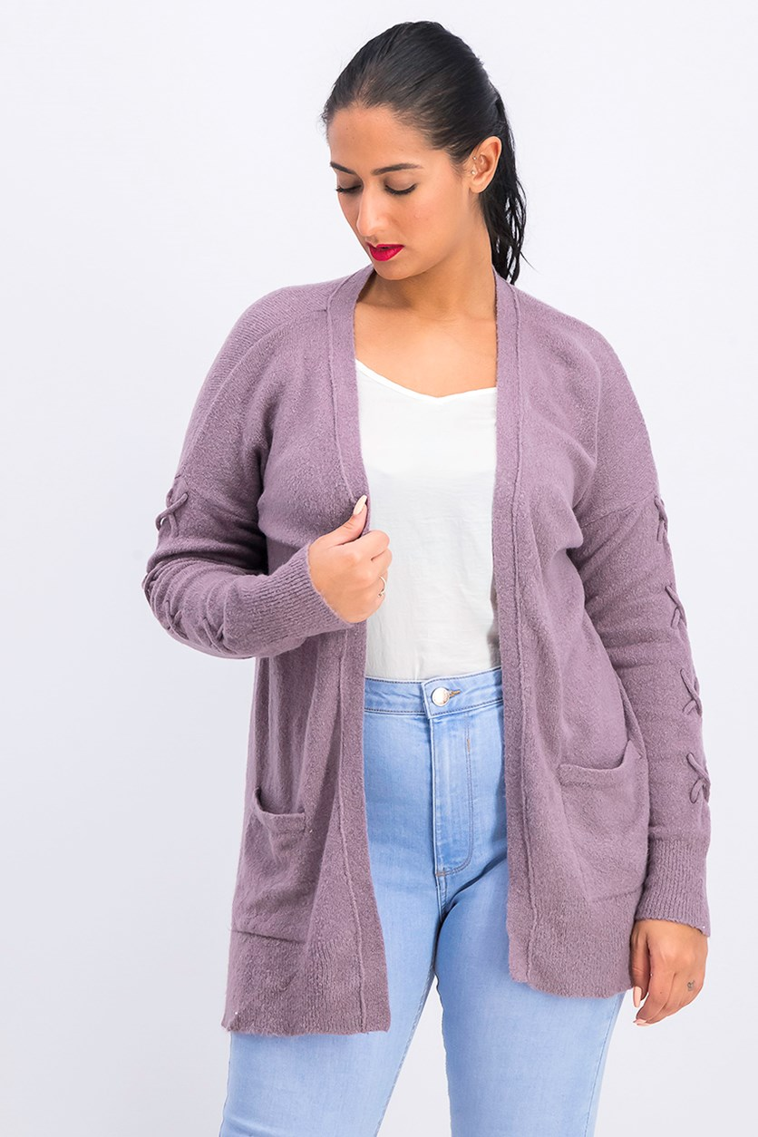 Women's Open Front Cardigan, Purple