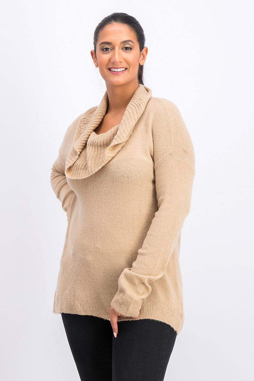 Women's Shawl Neckline Sweater, Brown