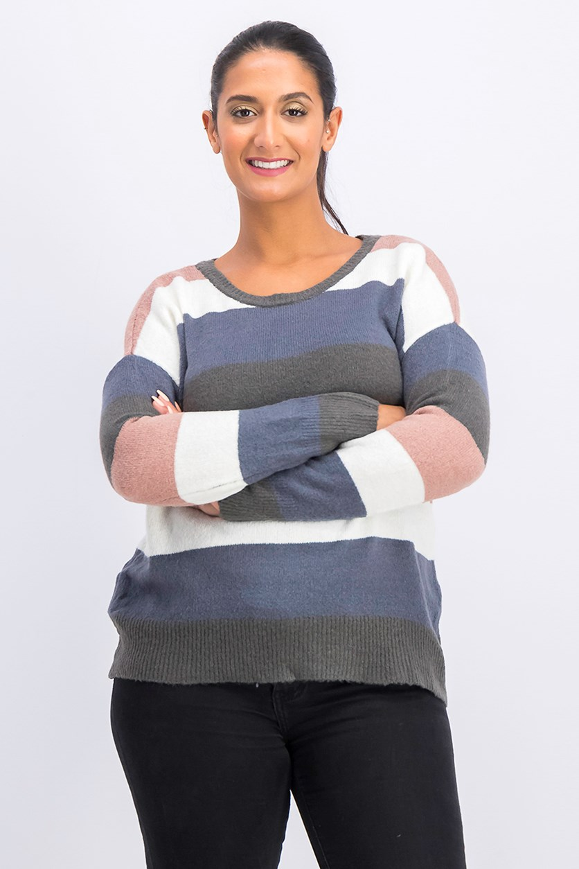 Women's Striped Sweater, Charcoal/Ivory/Navy