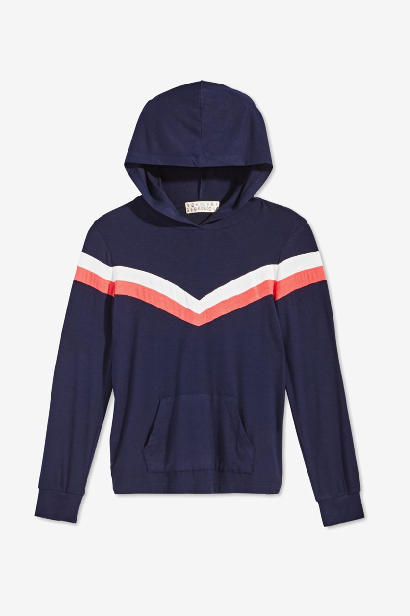 Big Girls Chevron Hooded Top, Navy