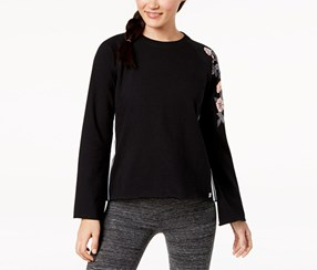 Calvin Klein Women's Performance Floral-Trim Sweatshirt, Black
