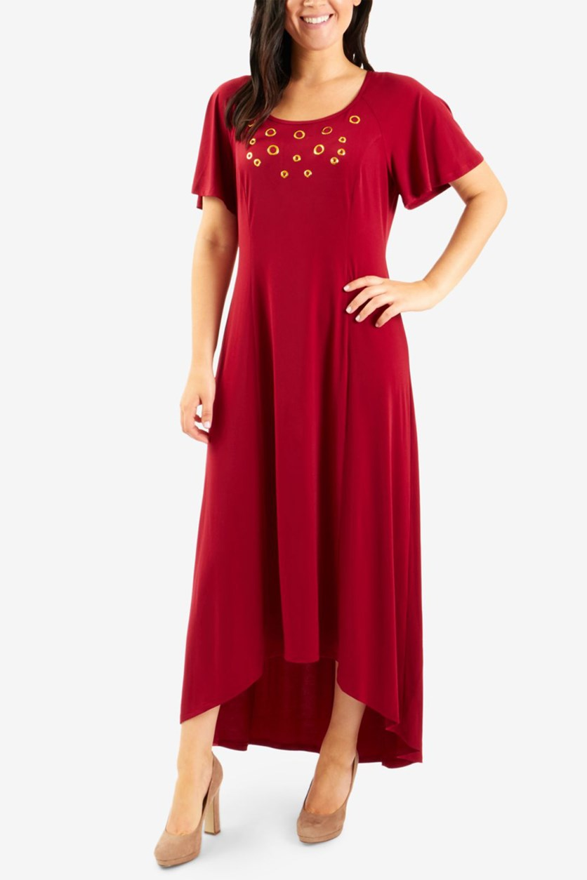 Petite Grommeted Maxi Dress, Ruby