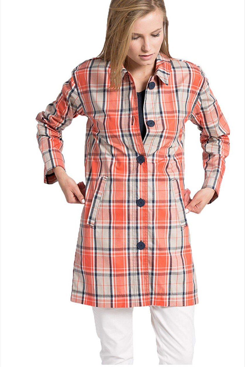 London Women's Check Coats, Orange/Ivory Combo