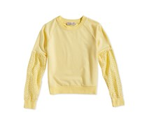 Pink Republic Girl's Eyelet-Sleeve Sweatshirt, Yellow