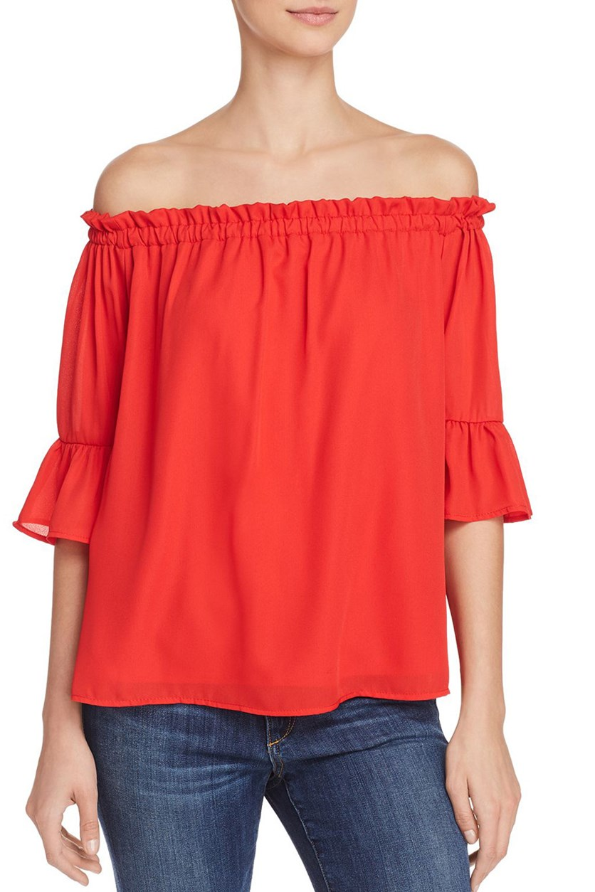 Women's Woven Off-the-Shoulder Pullover Top, Tomato