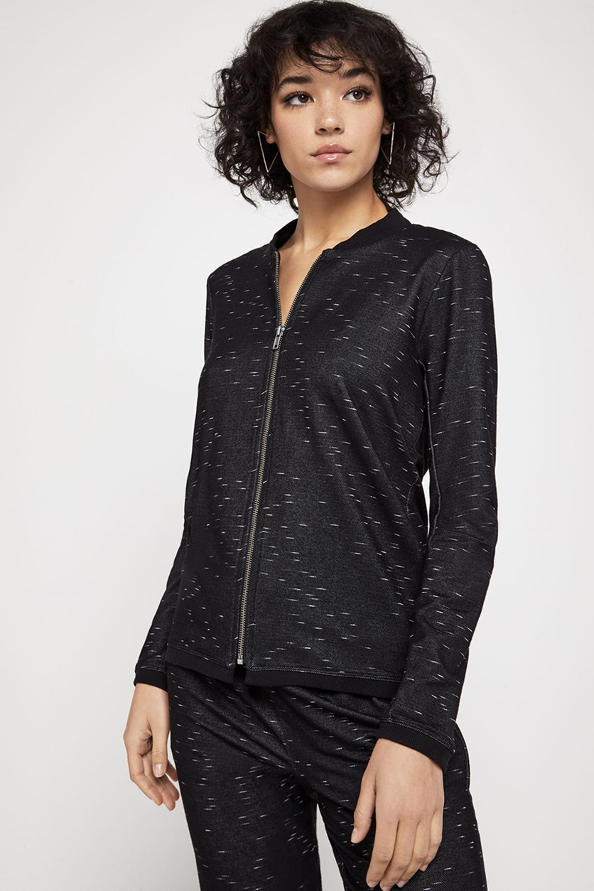 Women's Cowl-Back Track Jacket, Black