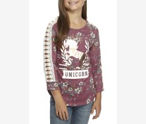 Beautees Kids Girl's Floral Unicorn Top, Berry