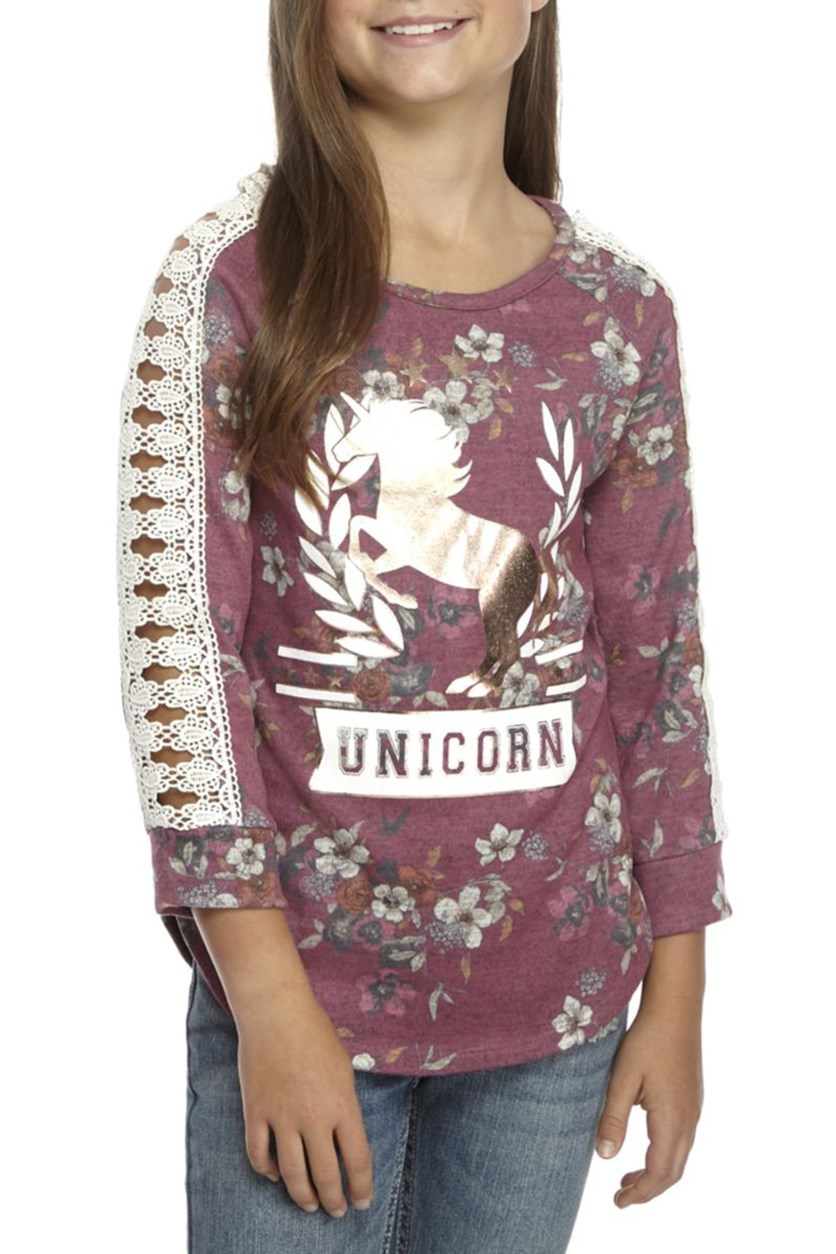Kids Girl's Floral Unicorn Top, Berry