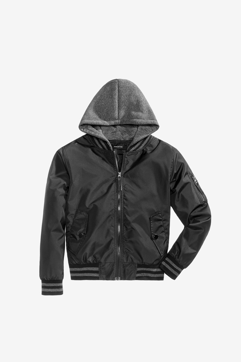 Big Boys Cardwell Hooded Bomber Jacket, Grey/Black