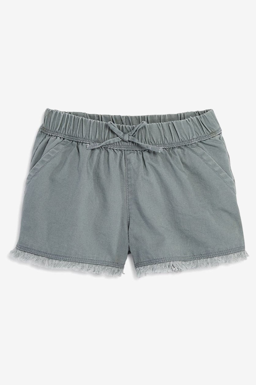 Big Girl's Washed Twill Shorts, Dark Biege