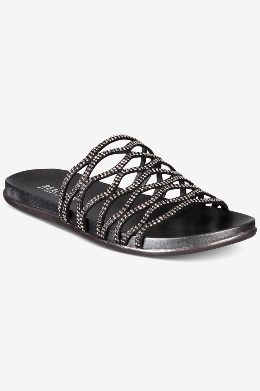 Women's Slim Slide Flat Sandal, Black