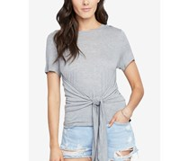 Women's Cropped Tie-Front T-Shirt, Gray