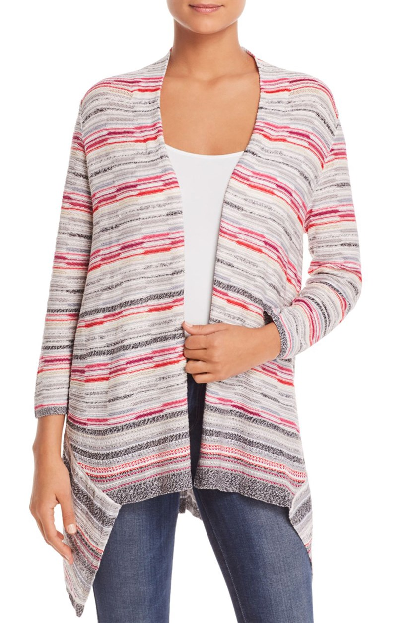 Nic + Zoe Women's Asymmetric Mixed Stripe Cardigan Sweater, Stripe