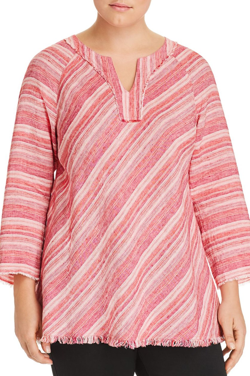 Women's Plus Sahara Sunset Linen Top, Stripe Pink