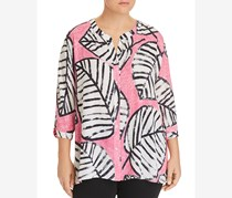 Nic+Zoe Plus Size Women's Nic+Zoe Etched Leaves Top, Pink/Black/White
