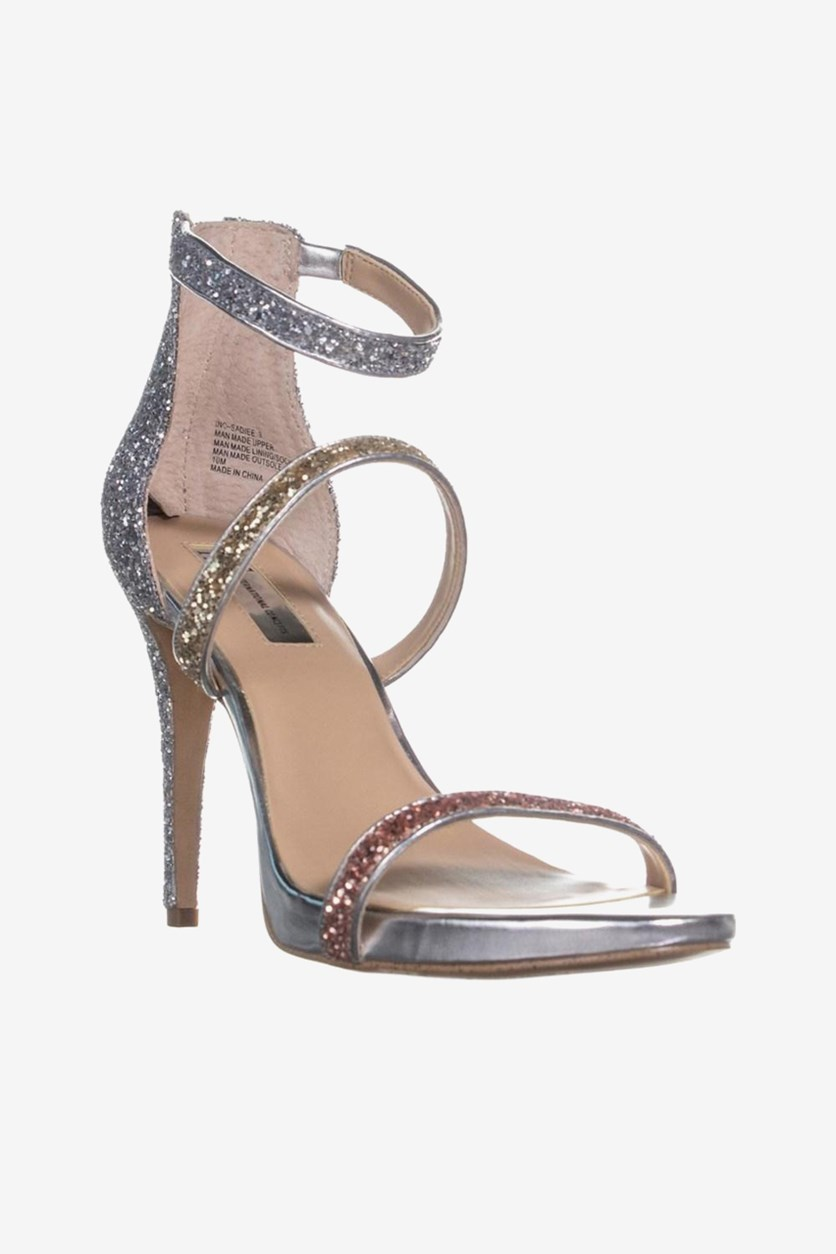 Women Sadiee Strappy Dress Sandals, Silver Metallic Combo