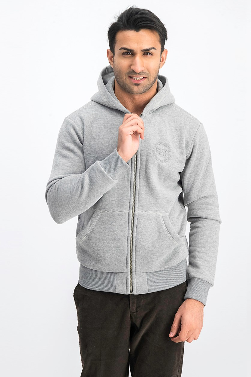 Men's Hoodie- Zip Sweater, Gray