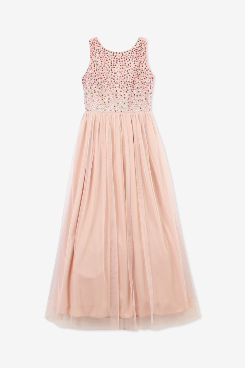 Big Girls Jeweled Maxi Dress, Blush