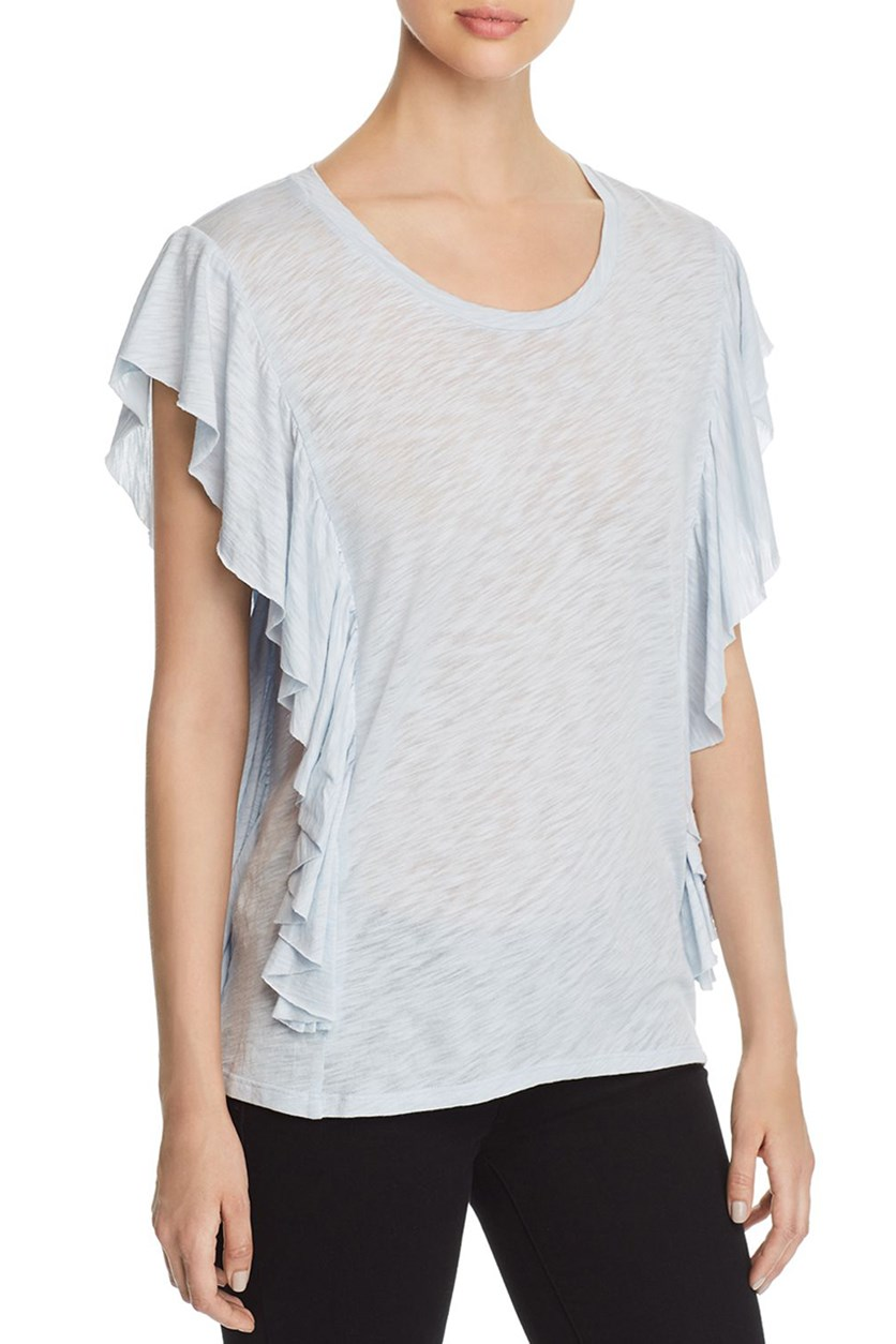 Womens Ruffled Layered T-Shirt, Pale Blue