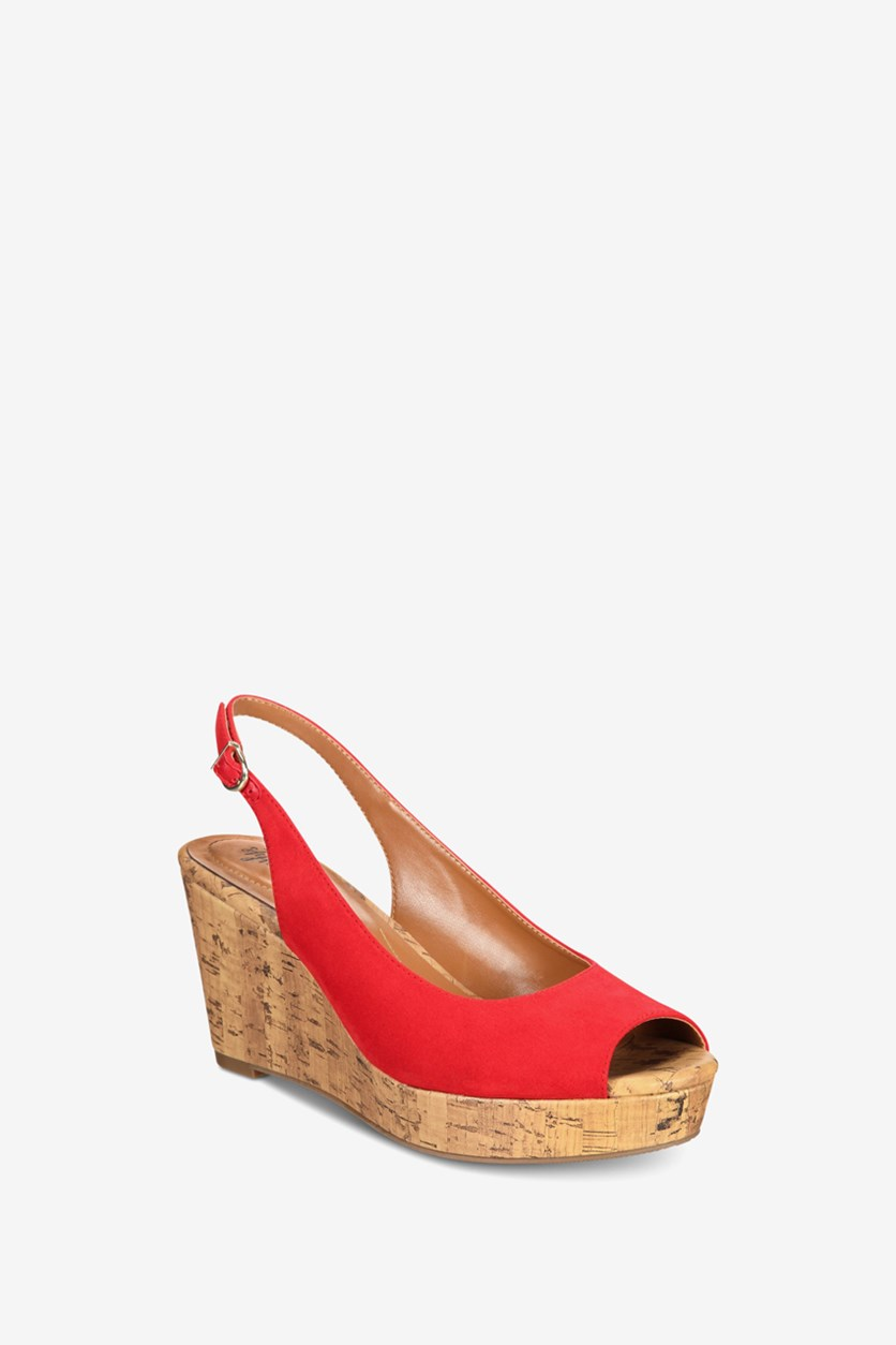 Women Sondire Wedge Slingback Sandals, Cerise Red