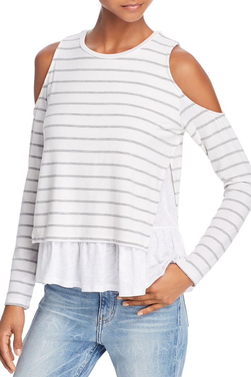 Women's Elsie Layered-Look Cold-Shoulder Tee, Grey Stripe