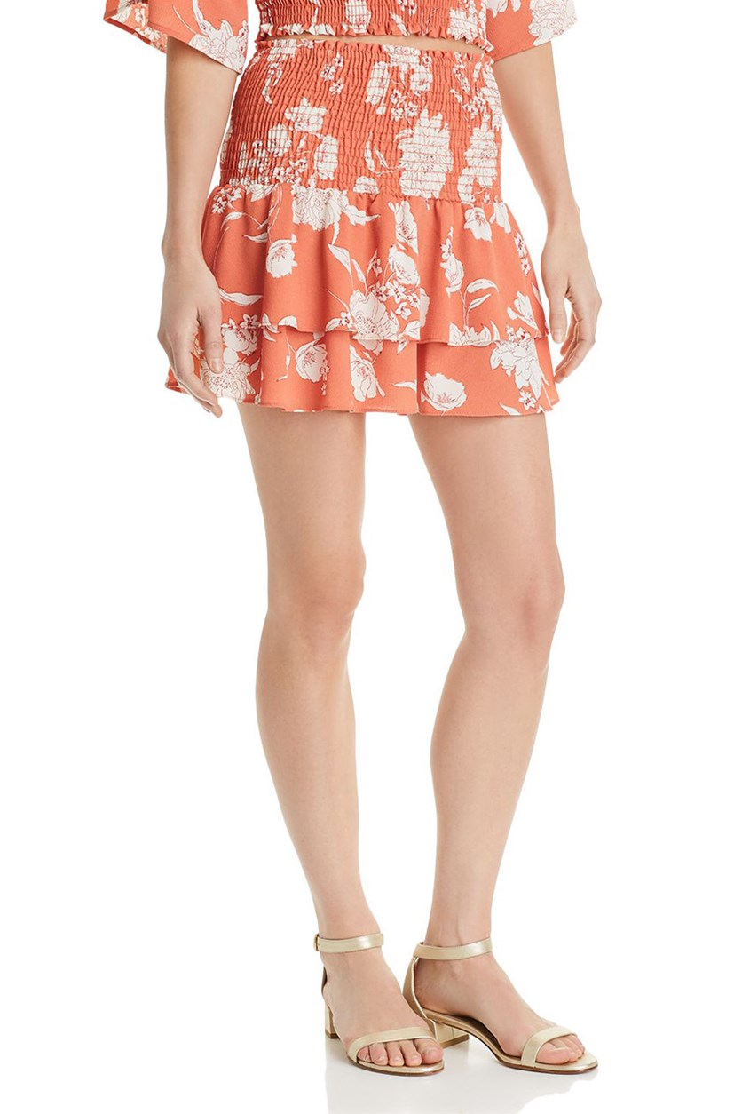 Senora Printed Tiered Mini Skirt, Coral