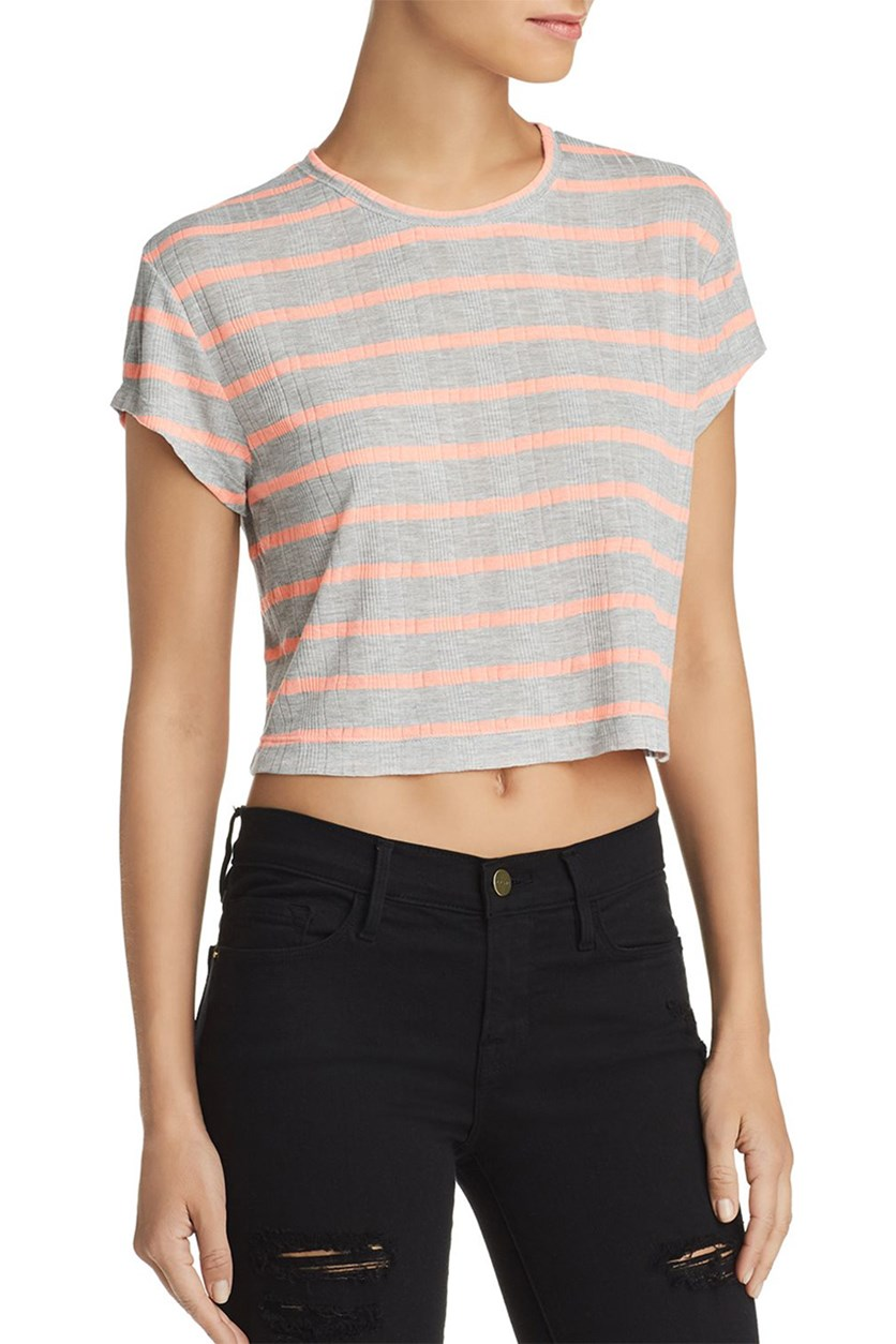 Women's Striped Heathered Crop Top, Grey/Neon Orange