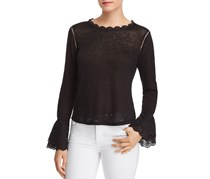 Generation Love Emma Lace-up Eyelet Detail Top, Black