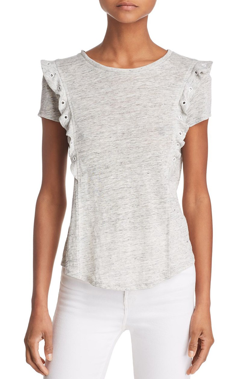 Generation Love Women's Nala Grommet Ruffled Linen Tee, Heather Grey
