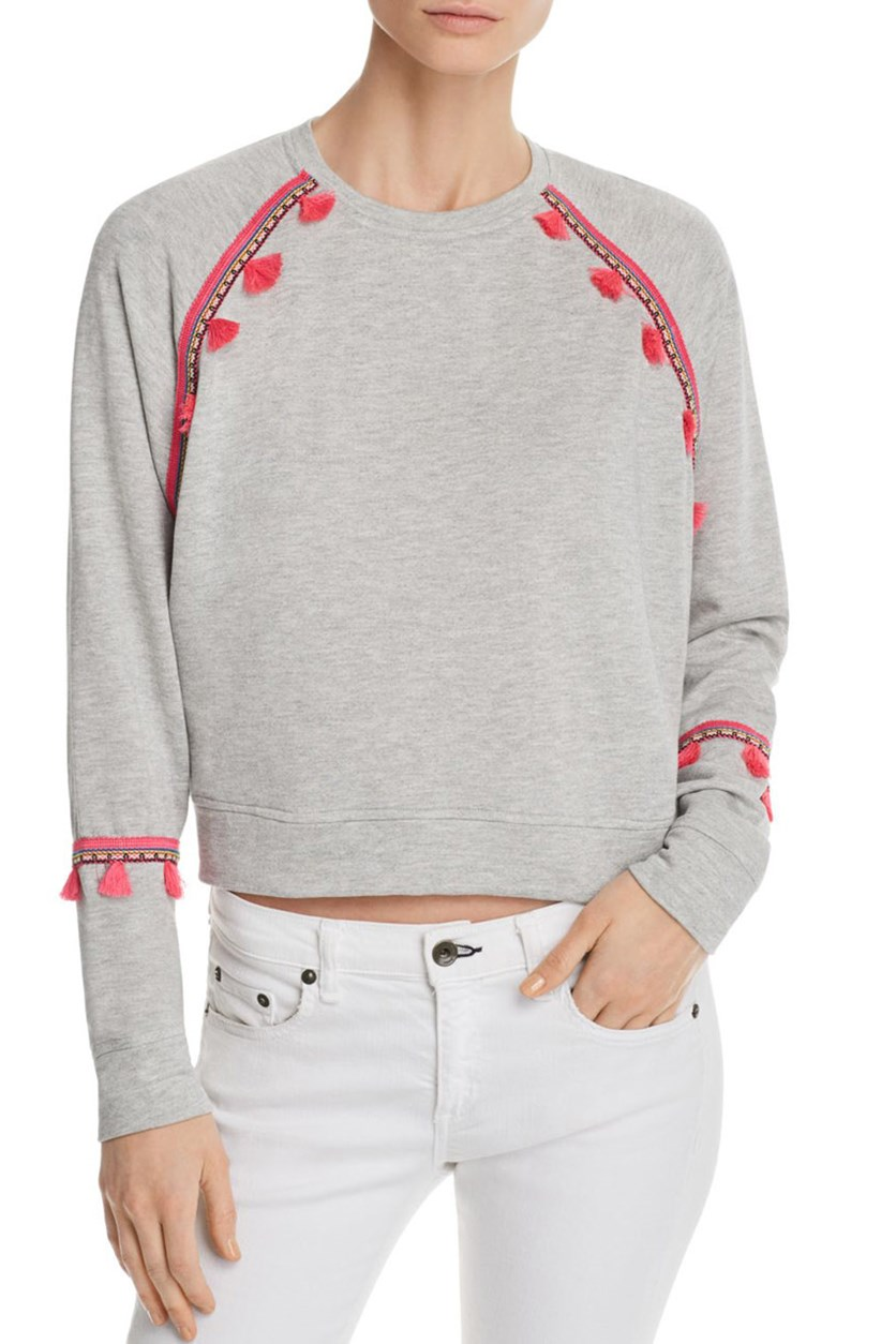 Generation Love Women's Devon Tassel Sweatshirt, Heather Grey/Pink