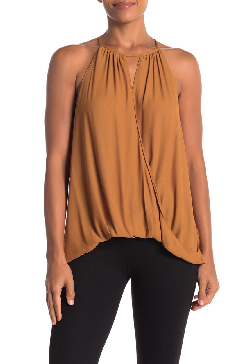 Women's Surplice Sleeveless Blouse, Brick