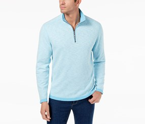 Tommy Bahama Men's Sea Glass Quarter-Zip Sweater, Blue