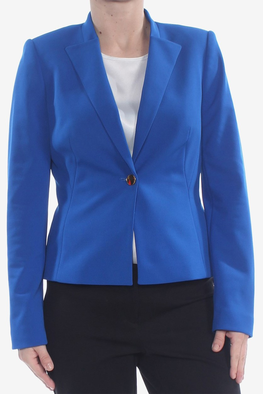 Women's Petite One Button Front Dress Jacket, Blue