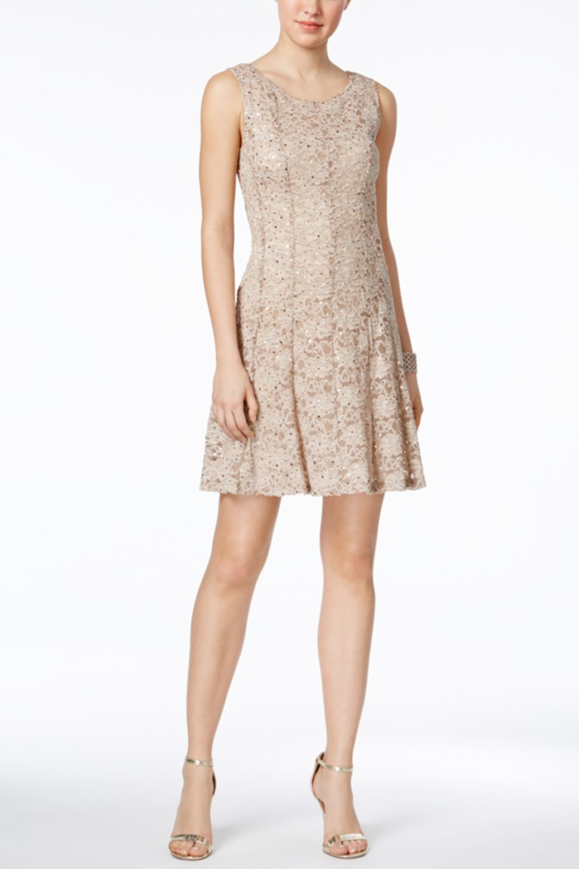 Sequined Lace Fit & Flare Dress, Dusty Taupe