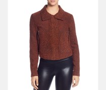 T Tahari Women's Marled Boucle Cropped Zipper Sleeve Jacket, Burnt Orange