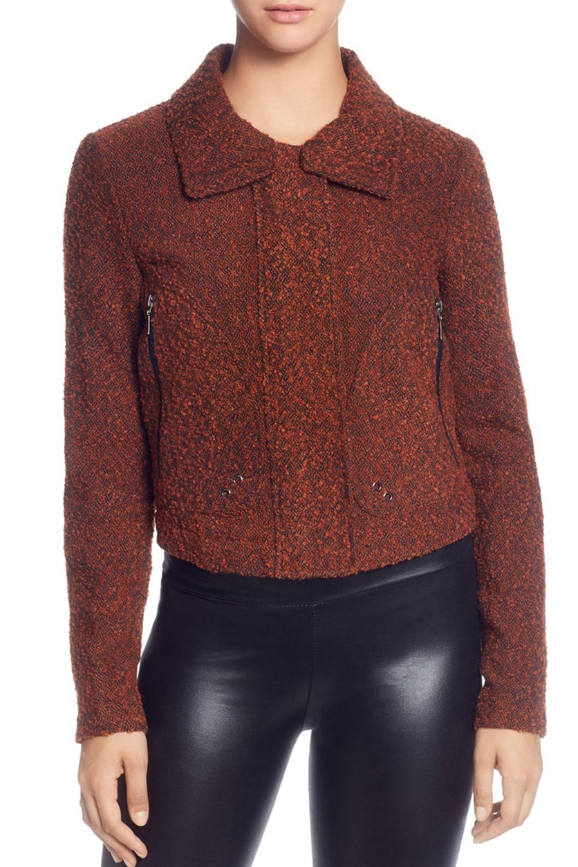 Women's Marled Boucle Cropped Zipper Sleeve Jacket, Burnt Orange