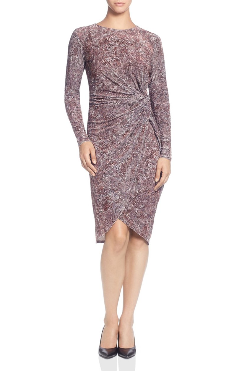 Women's Animal Print Velvet Twist Dress, Sandy Dune