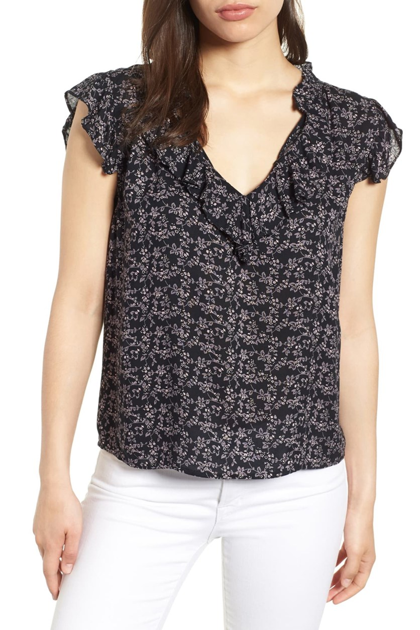 Women's Velvet By Graham & Spencer Printed Blouse, Navy Blue