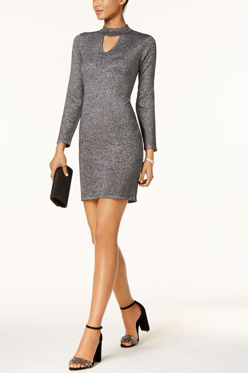 Petite Women's Sweater Sheath Dress, Black/Silver
