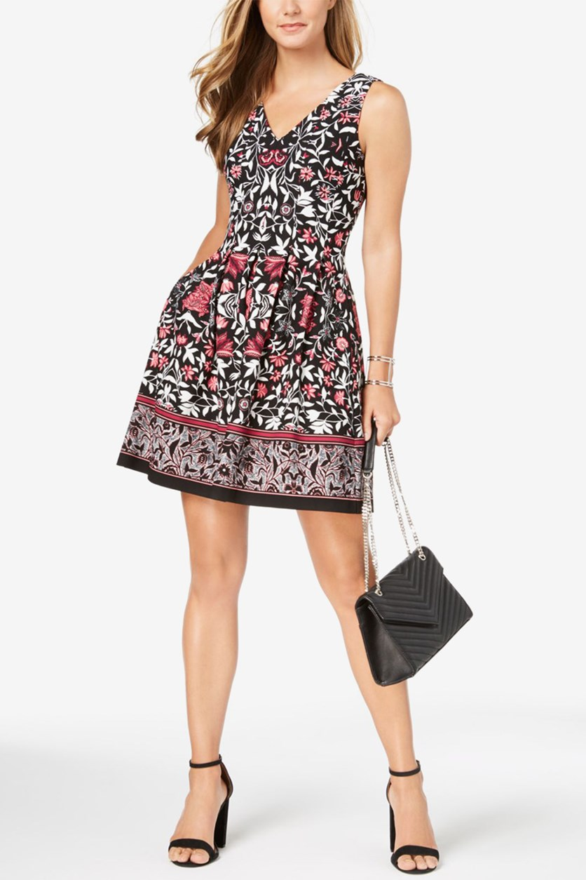 Women's Floral Print Fit & Flare Dress, Black Combo